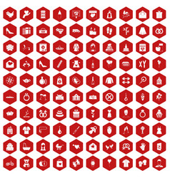 100 woman happy icons hexagon red vector