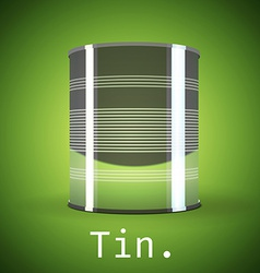 A silver tin can on a green background vector image