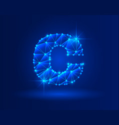 Abstract glowing letter c on dark blue background vector