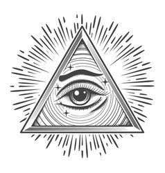 All seeing eye in triangle freemasonry symbol vector