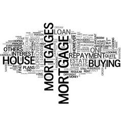Assortments of mortgage loans text word cloud vector