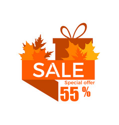 autumn sale a discount of 55 percent ribbon with vector image