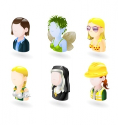 Avatar people internet icon set vector