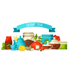 background with tea and accessories packs and vector image