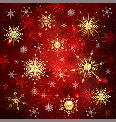 blue background with golden snowflakes vector image