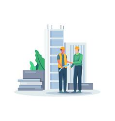 Blueprint agreement construction concept vector