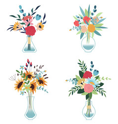 bouquets flowers in a vase vector image