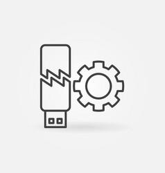 Broken usb memory stick with gear outline vector