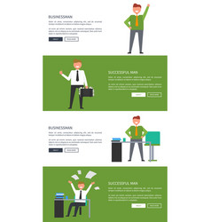 Businessman and successful man cartoon banners vector