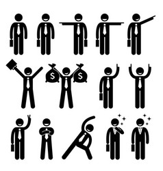 Businessman business man happy action poses stick vector