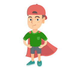 caucasian brave boy wearing superhero costume vector image