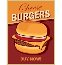 Cheeseburger on retro style vector