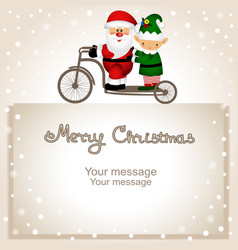 christmas card santa claus and elf on a bicycle vector image
