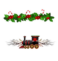 Christmas decorations with fir tree and train vector