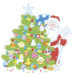 Christmas tree and santa claus with gifts vector