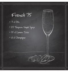 Cocktail French 75 on black board vector