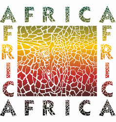 colorful background giraffe and text africa vector image