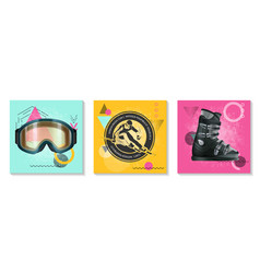 colorful winter sport cards set vector image