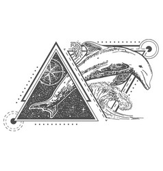 Creative geometric ocean dolphin tattoo art vector