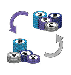 crypto coins pile with arrows vector image