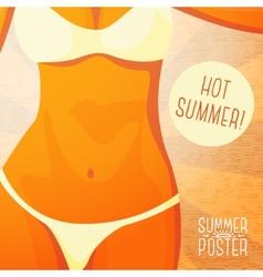 Cute summer poster - bikini girl on beach vector