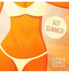 Cute summer poster - bikini girl on the beach vector