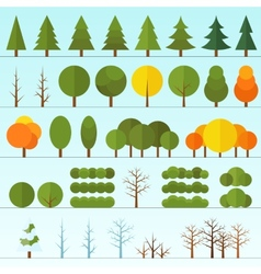 Different trees collection isolated vector