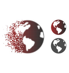 Dissolved dot halftone earth icon vector