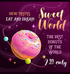 Donut planet banner food space vector