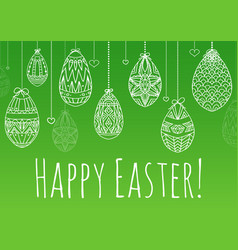 easter card with hanging doodle eggs with vector image