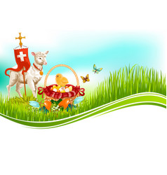 Easter paschal eggs and lamb greeting card vector