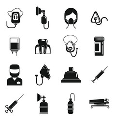 Emergency anesthesia icons set simple style vector