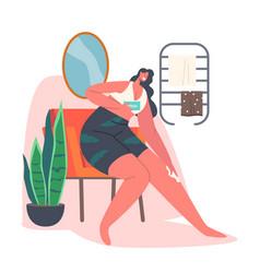 Female character hygiene procedures woman vector