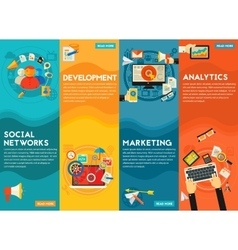 Flat concept banners Social Marketing vector