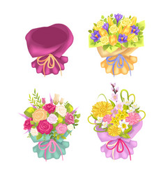 four beautiful packing and cute flowers color card vector image