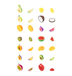 fruits and berries 3d set isometric view vector image