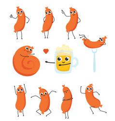 funny sausage beer character having fun set vector image
