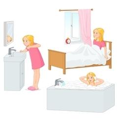 Girl doing her morning routine vector