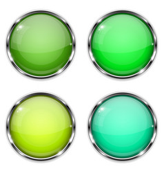 glass buttons green and yellow round 3d buttons vector image