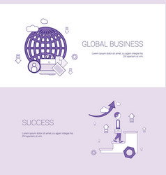 global business and success template web banner vector image