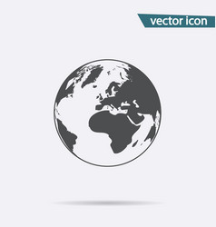Gray earth icon isolated on background modern fla vector