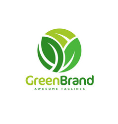 green leaf circle logo vector image