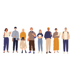 Group students standing full-length together vector