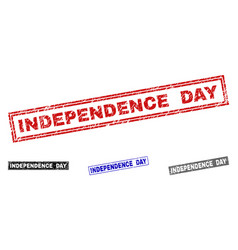 grunge independence day scratched rectangle stamps vector image