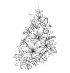 Hand drawn bunch with flowers vector