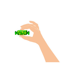Hand hold candy wrapper dessert sweetness vector