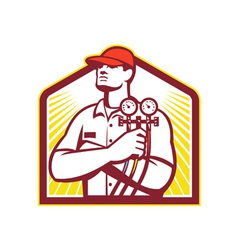 Heating and Cooling Refrigeration Technician Retro vector image