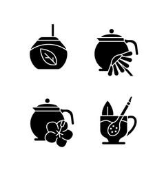 Herbal tea black glyph icons set on white space vector
