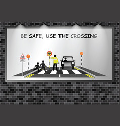 illuminated advertising billboard school crossing vector image