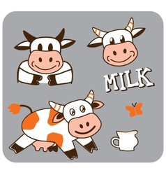 Image of a cheerful spotty cow vector